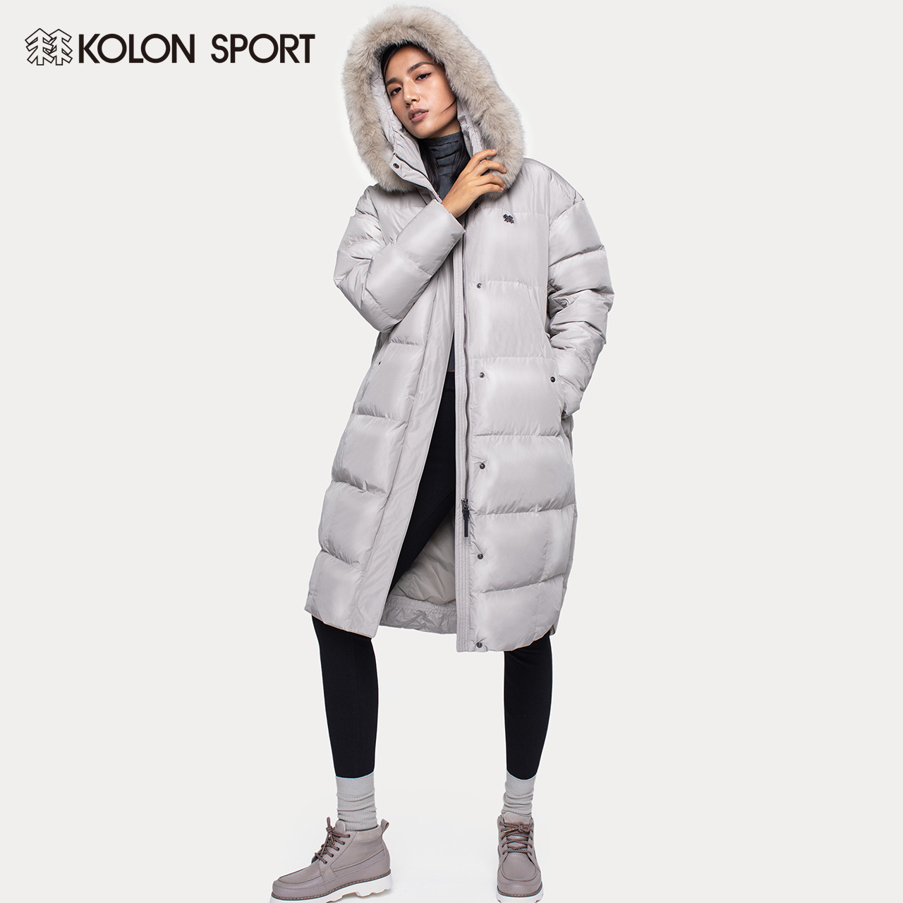 KOLONSPORT CANON DOWN JACKET WOMEN'S FOX HAIR COLLAR PLUS THICK LONG GOOSE DOWN DOWN JACKET COTTON JACKET HAN TIDE