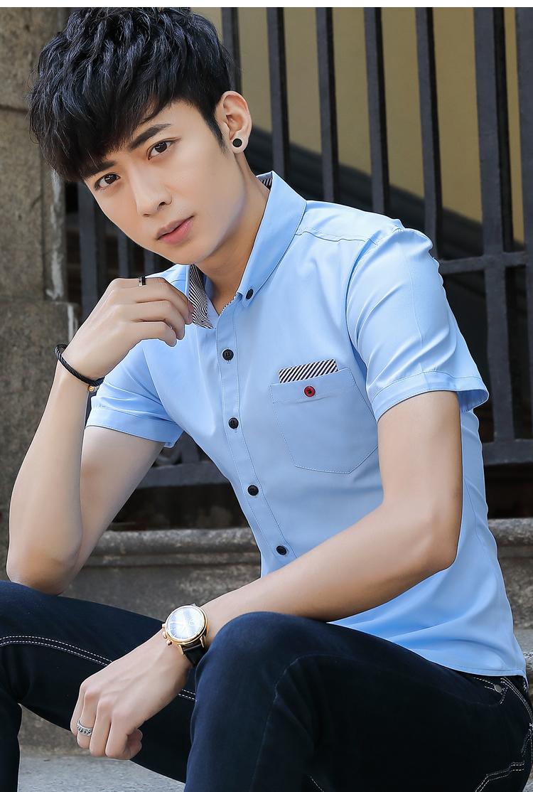 Mùa hè Hàn Quốc Slim Thêu Sinh Viên Áo Sơ Mi Nửa Tay Áo Sơ Mi Nam Nổi Tiếng của Ngắn Tay Áo Thanh Niên Thời Trang T-Shirt mua áo sơ mi