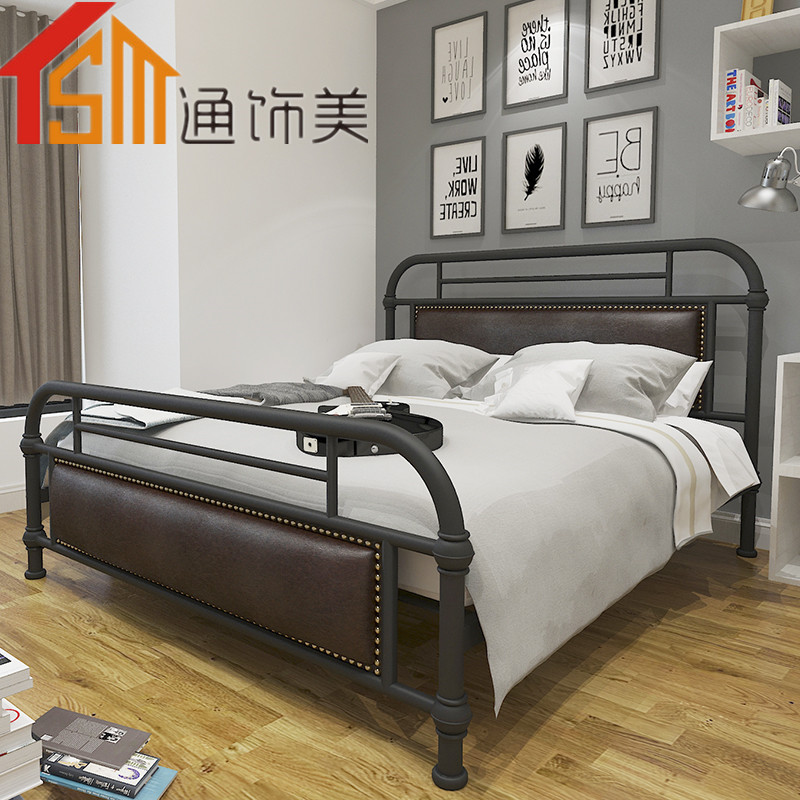 Simple European Style Iron Bed Double Bed 1.8 1.5 1.2 Meters Children Bed White Princess Bed Home Furniture