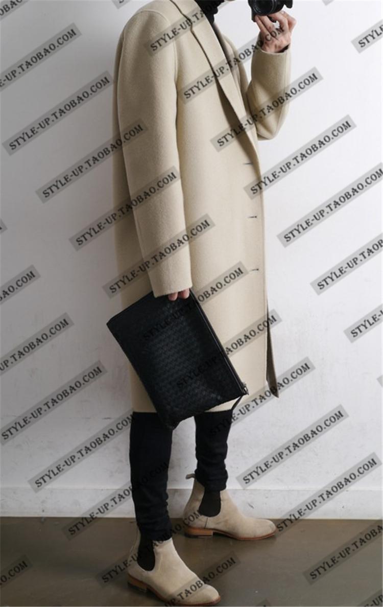 Áo len nam phần dài Hàn Quốc phiên bản của gió Anh hai mặt cashmere áo khoác nam áo len mùa thu vai áo gió mùa đông