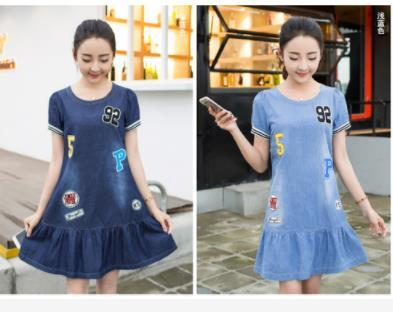 098a6691577 Actual Shot of New Summer Girl Dresses in 2019 Junior High School Girls  Junior High School Girls Jeans Skirt