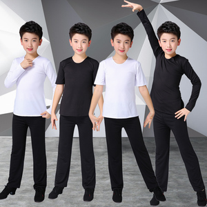 Boys latin dance shirt Boys dance suit season Latin Dance Costume boys long sleeve training suit children Chinese dance body suit