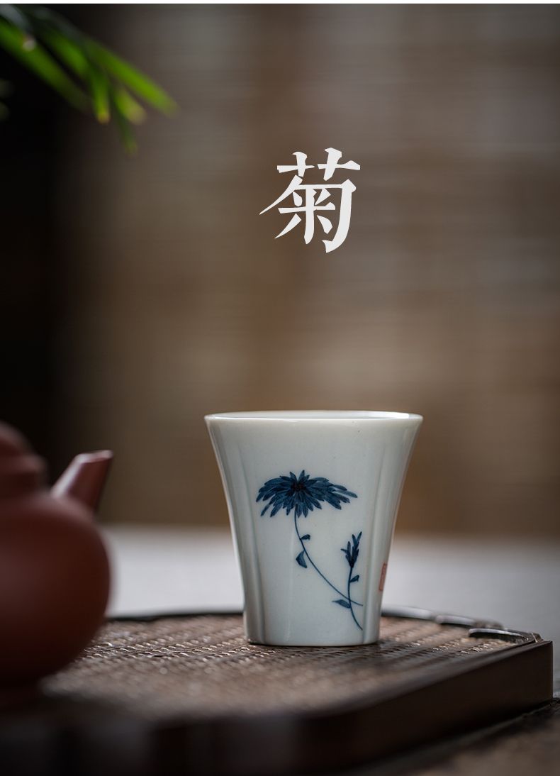 Hand made blue and white porcelain cup small kung fu tea set a single single CPU master cup Japanese tea taking tea cup