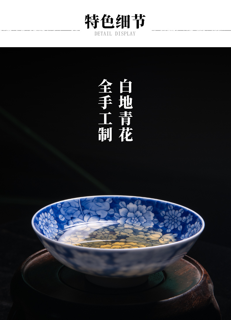 Hand - made of blue and white porcelain of jingdezhen ceramics kung fu tea cup flower masters cup cup pure checking sample tea cup tea set