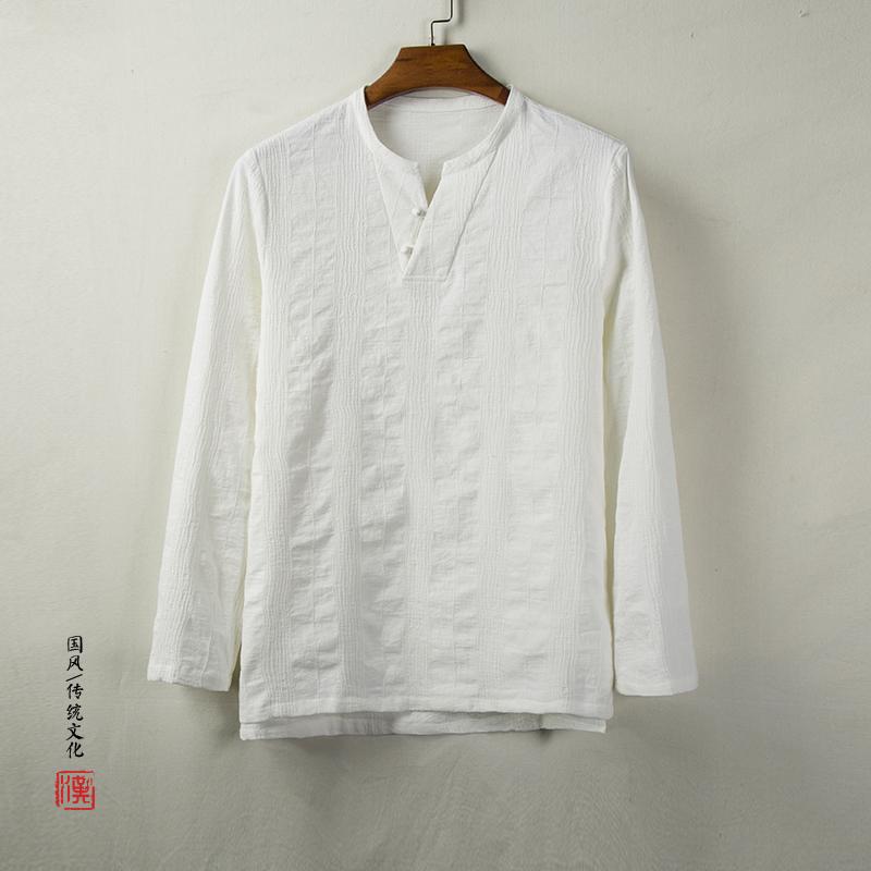 Phong cách Trung Quốc mùa thu áo dài tay nam thanh niên Tang trang phục cổ phong cách Phật trang phục trang phục lay quần áo Hanfu thiền - Trang phục dân tộc