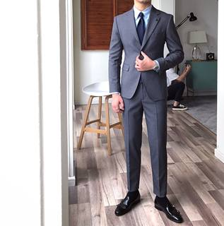 Mr. Lu San's homemade gentleman's formal suit, solid color suit, fashion trend, advanced two-piece suit, suit, British male