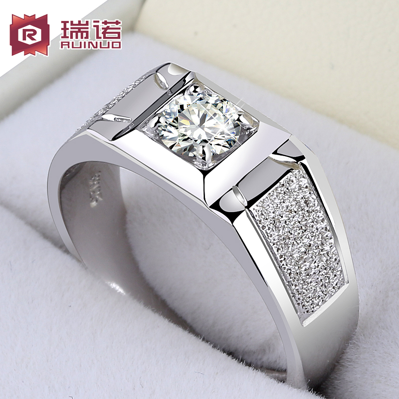 03c7a2f01b 925 silver men's ring Platinum-plated open couple ring pure domineering male  simulation diamond ring single personality female