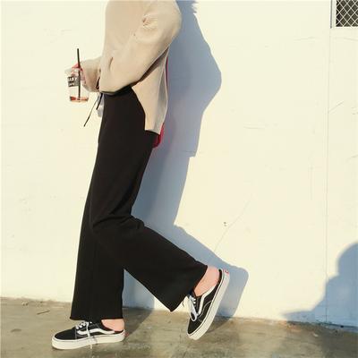 运动裤子女夏2019新款宽松显瘦学生休闲直筒灰色阔腿裤女高腰垂感