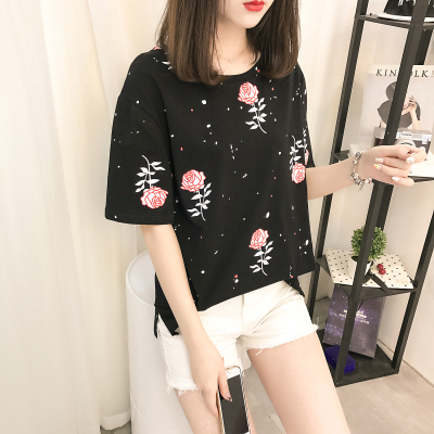 2017 plus fat plus size women's new 200 pounds fat sister summer print shirt short-sleeved loose T-shirt female