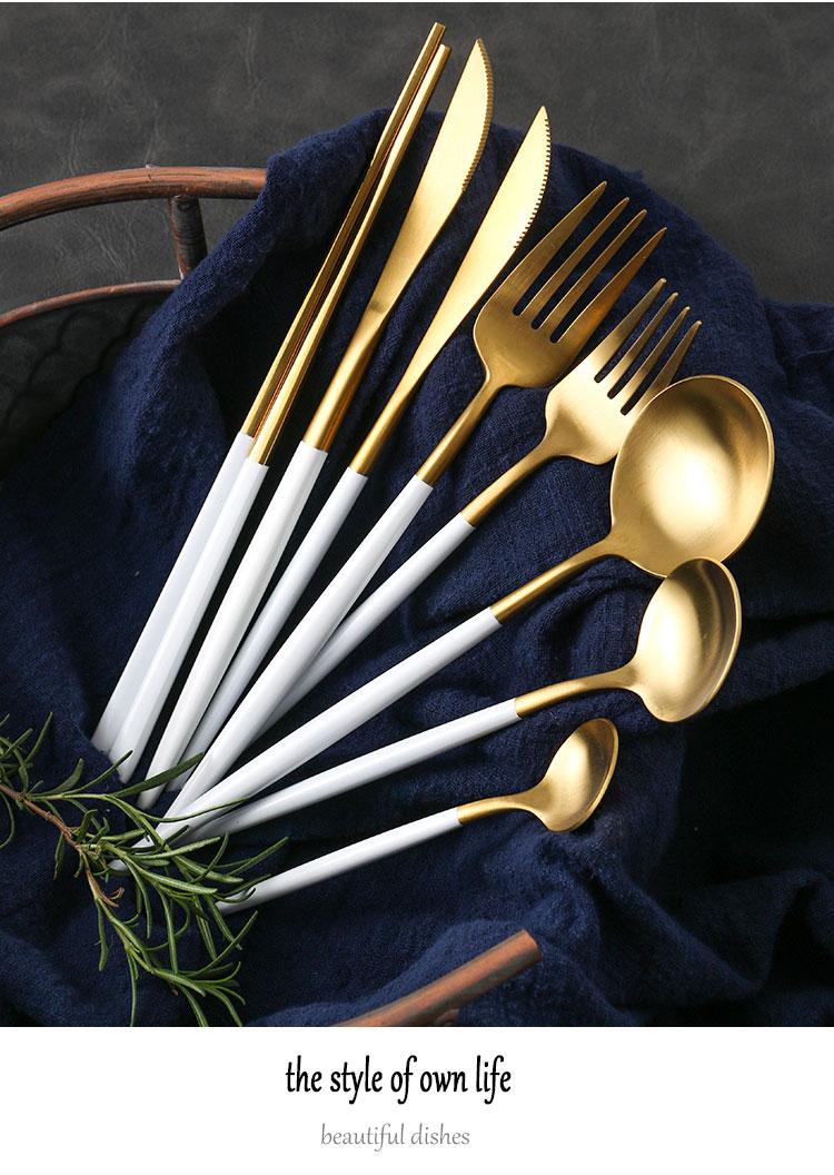 不锈钢西餐餐具甜品牛排刀叉勺三件套装家用网红筷子勺子叉子详细照片