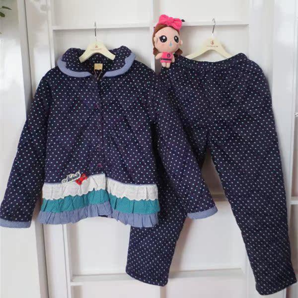 芬腾冬季女士加厚保暖棉袄珊瑚绒夹棉睡衣花边家居服套装H8456185