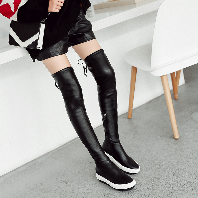 669c66ff41c Long boots women over knee boots 2018 autumn and Winter new lace-up thick  muffin thin boots thin stretch high boots