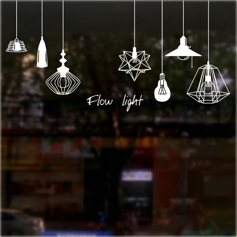 Fashion Chandelier Shop Wall Stickers Window Glass Door Stickers Decorative  Mall Creative Coffee Tea Shop Clothing Store