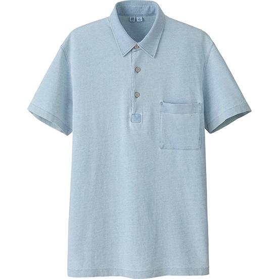 男装 U水洗靛青染POLO衫(短袖)(水洗产品)