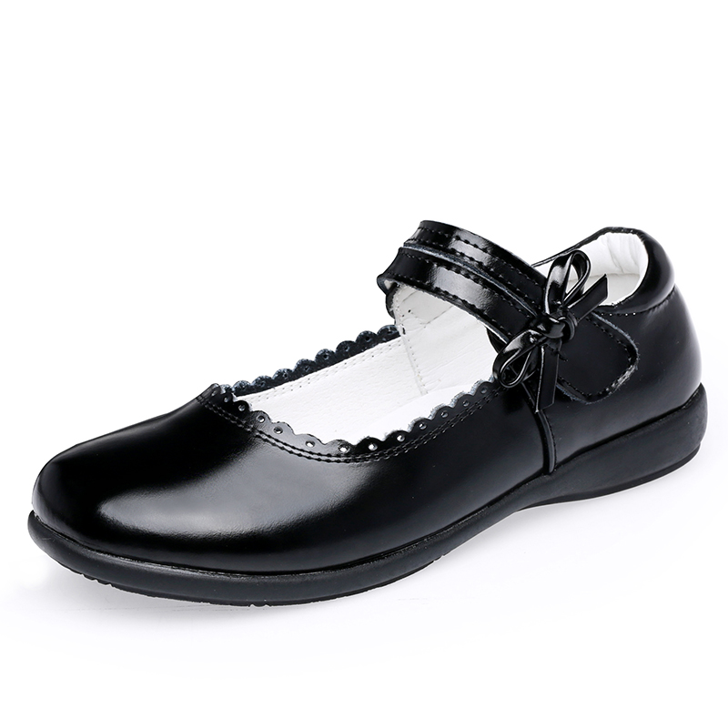 Girls Leather Shoes - 7805 - Black