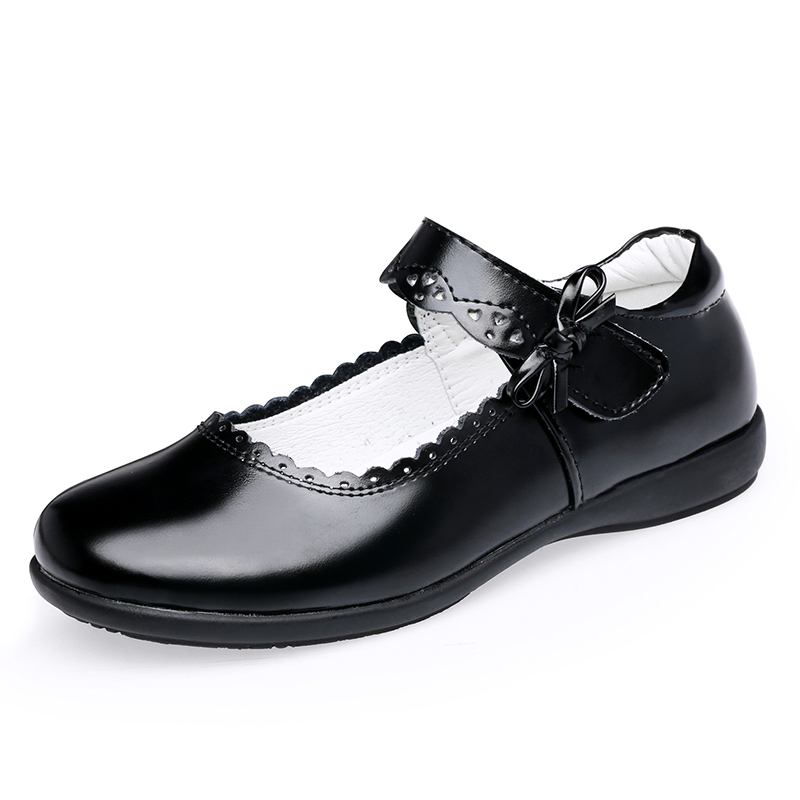 Girls Leather Shoes - 7801 - Black