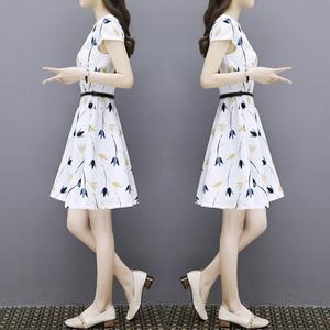 大量現貨~連衣裙女2019夏裝新款韓版碎花雪紡修身氣質中長款...