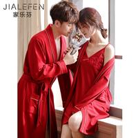 Новый брак свадебное новый женщина насыщенно-красный Праздничная пижама для влюбленной пары Утреннее платье длинный рукав чистый хлопок Сексуальная ночная рубашка ночная рубашка комплект