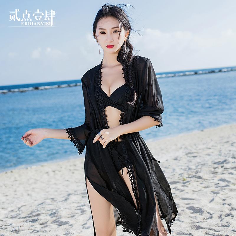 雪纺拼接蕾丝开衫中长款沙滩防晒衣女夏宽松收腰薄款外套空调罩衫