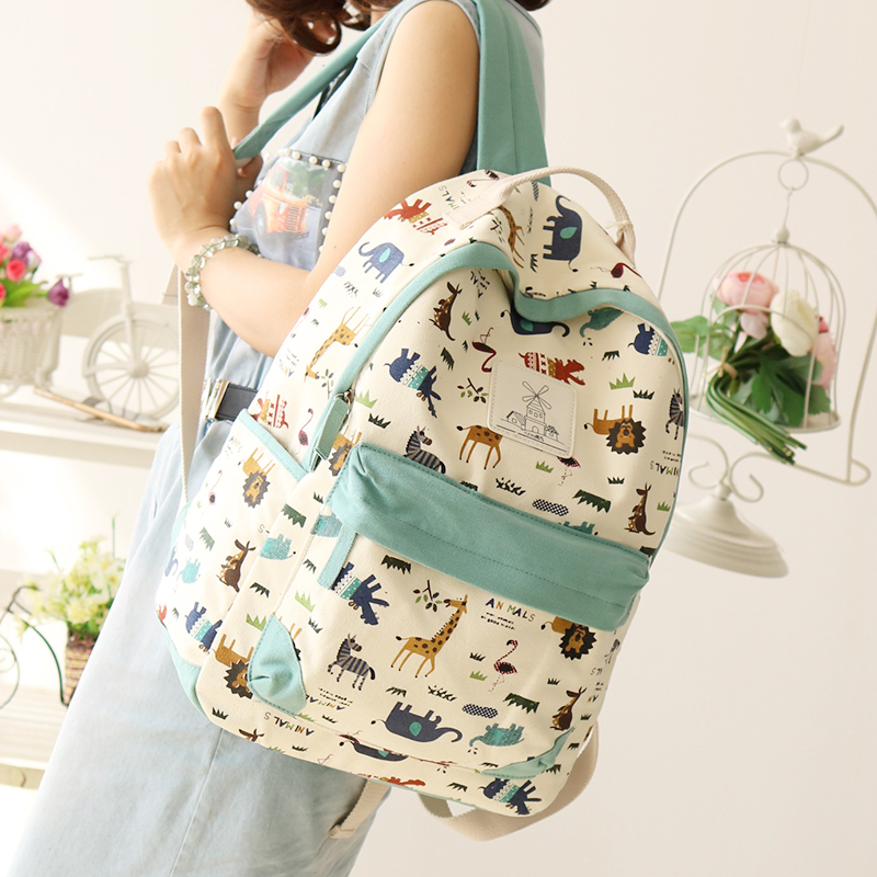 209a34ac32 Junior High School students bag canvas shoulder bag female Japan and South Korea  Travel Backpack Tide College wind leisure small fresh