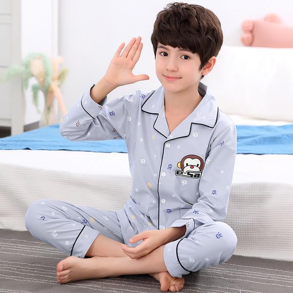 На мальчика сон длина гильза чистый хлопок Дети летом стиль Лето 12 детские Кондиционер костюм стиль 15 лет