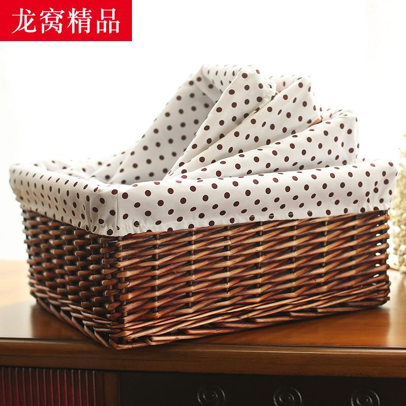 收纳筐藤编面膜收纳篮编织客厅桌面收纳盒布艺零食杂物储物篮子