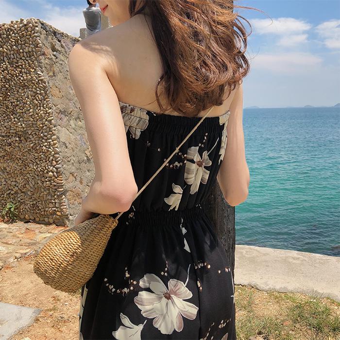 Bộ đồ liền thân ống jumpsuit nữ mùa hè voan cổ cao quây eo