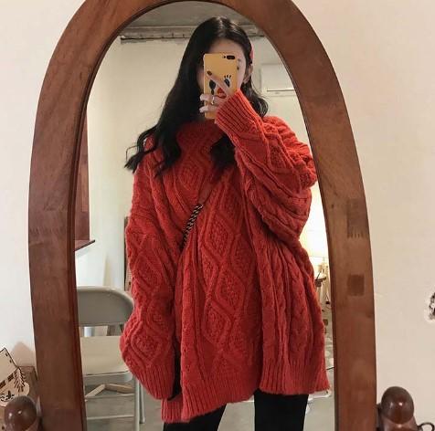 韩版冬季麻花大毛衣女套头中长款宽松慵懒风加厚粗毛线针织衫外套