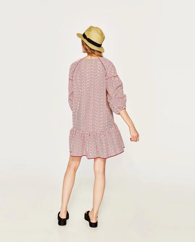 Rất đẹp tinh khiết nguyên bản lão hóa Matsumoto công ty フ 18 mùa hè ăn mặc thêu Pháp bảy tay áo charm cotton chải kỹ ăn mặc nữ