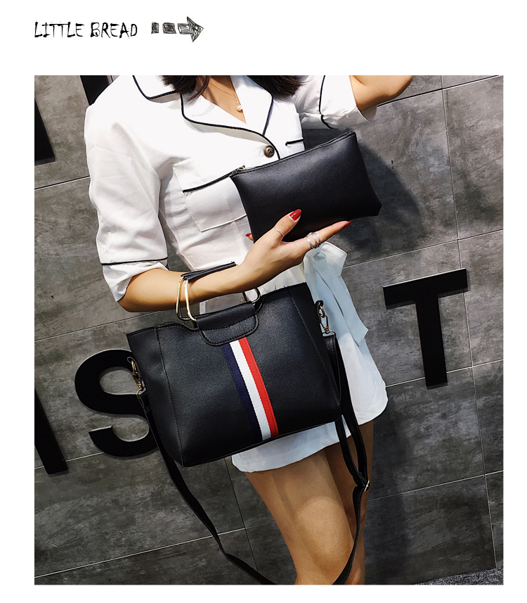 Women Bag Handbag Purse Ladies PU Leather Crossbody Bag 2Pcs/Leisure bag capacity big bag wholesale gray 22x21x10cm 8
