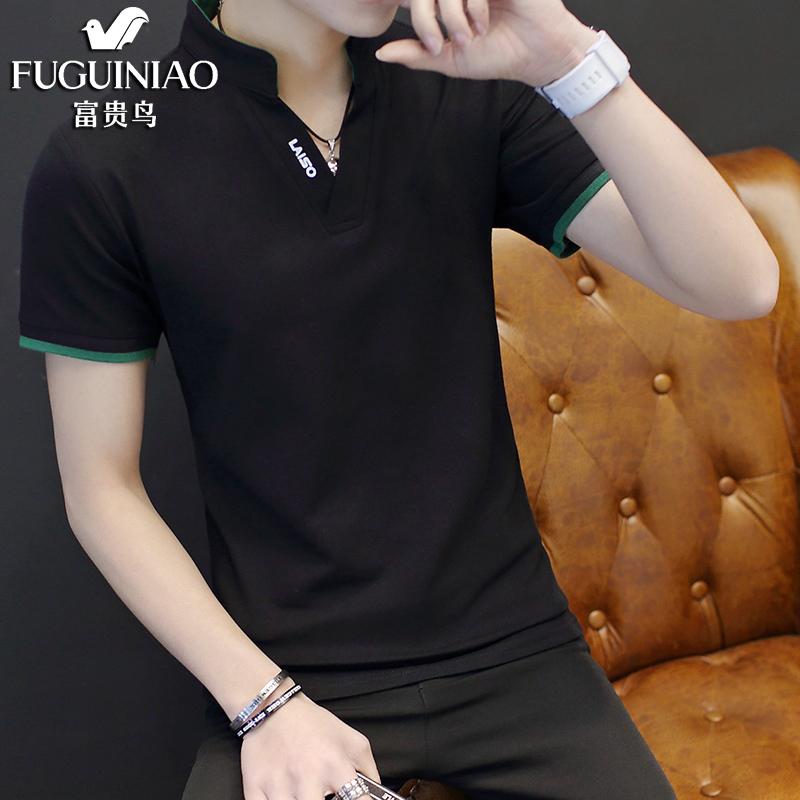 夏季男士短袖t恤 纯色修身半袖T恤男 青年男装上衣POLO衫