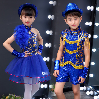 Hip Hop Dance Costumes for girls Jazz Dance Dress Children jazz performance clothes boys and girls bright pieces children handsome hip hop dance clothes student performance clothes