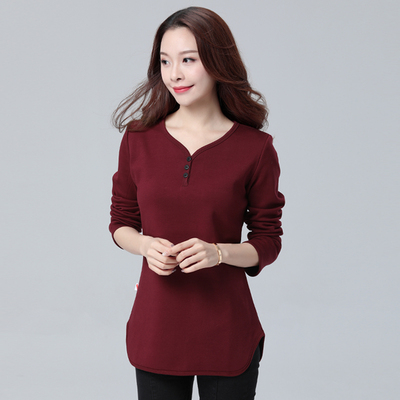 200 kg fat mm favorite winter plus velvet loose cover belly bottoming shirt XL women 2017 new fat sister