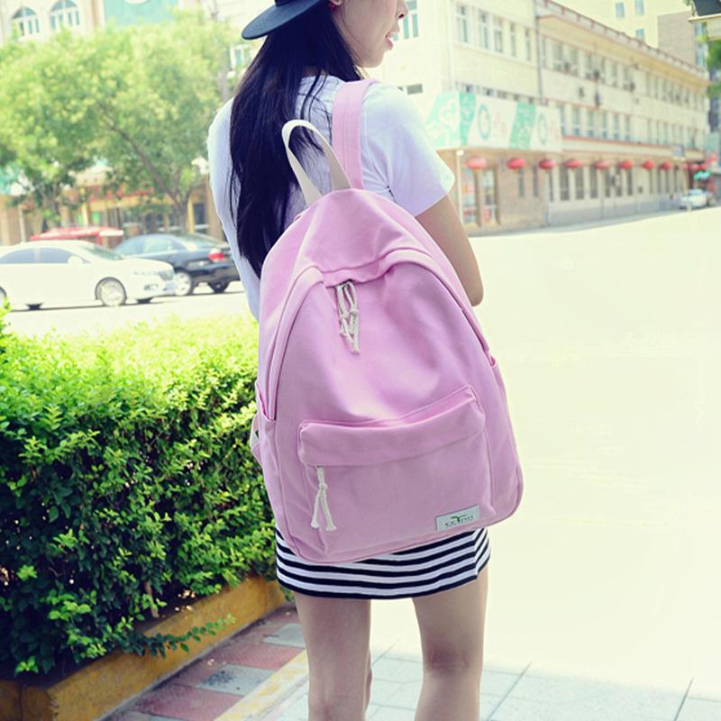 韩版帆布书包高中学生女大容量学院风纯色简约电脑背包潮双肩包女