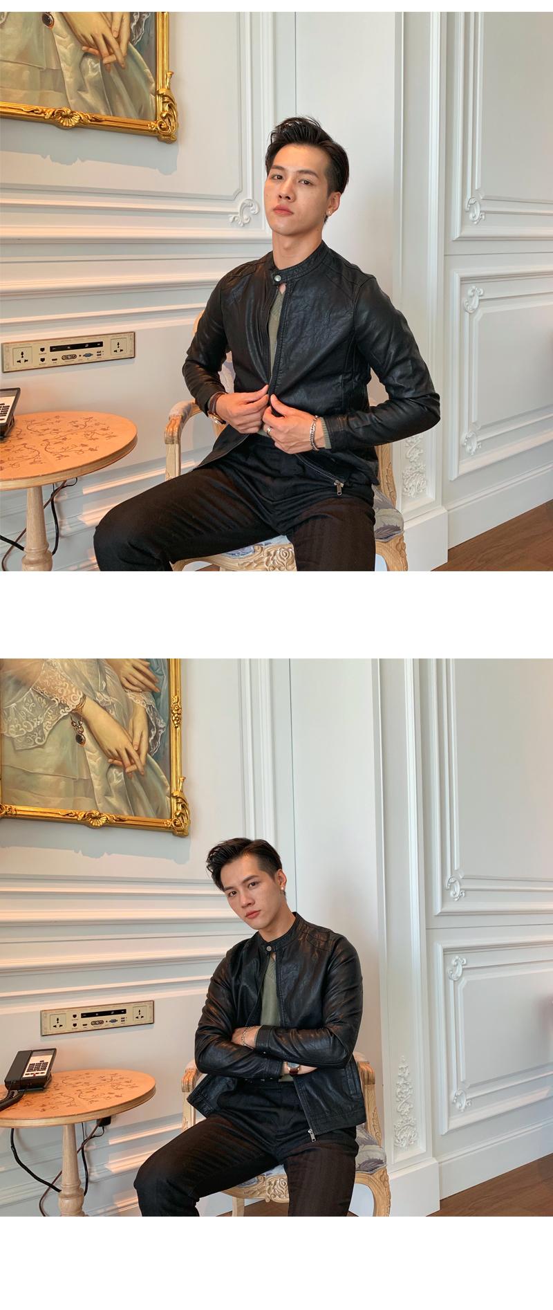 South Korea Korean version handsome collar leather jacket men's retro personality PU leather clothing fashion 100 locomotive leather fashion tide 54 Online shopping Bangladesh