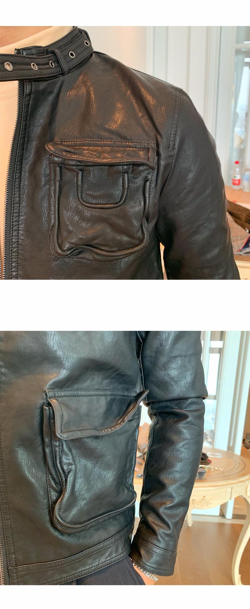 South Korea Korean version handsome collar leather jacket men's retro personality PU leather clothing fashion 100 locomotive leather fashion tide 47 Online shopping Bangladesh