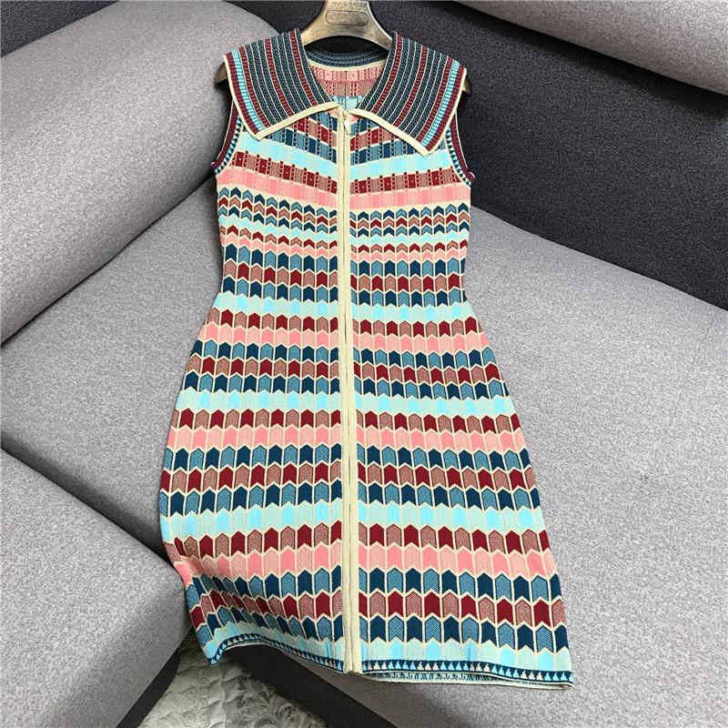 背心同款连衣裙女夏小无袖复古气质大明星撞色条纹香风针织翻领裙
