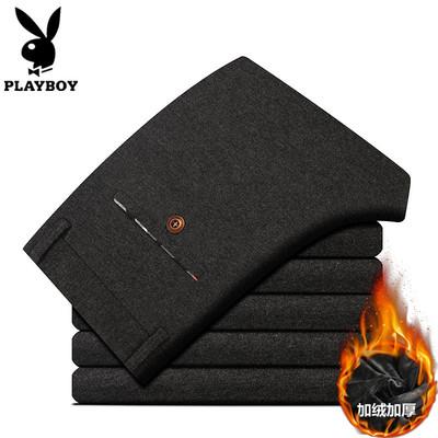 Playboy mùa thu và mùa đông nam cộng với quần nhung dày nam giản dị Hàn Quốc Slim quần nam thời trang quần tây - Quần mỏng