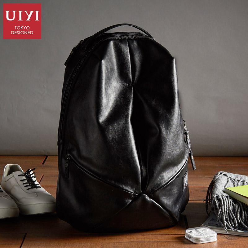 佑一良品日本潮牌双肩包男背包软皮质时尚潮流书包大容量旅行包