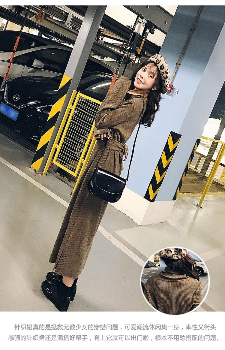 新款秋冬时尚针织收腰显瘦长款连衣裙  nbsp,通勤,常规,单件,形式 女装品牌