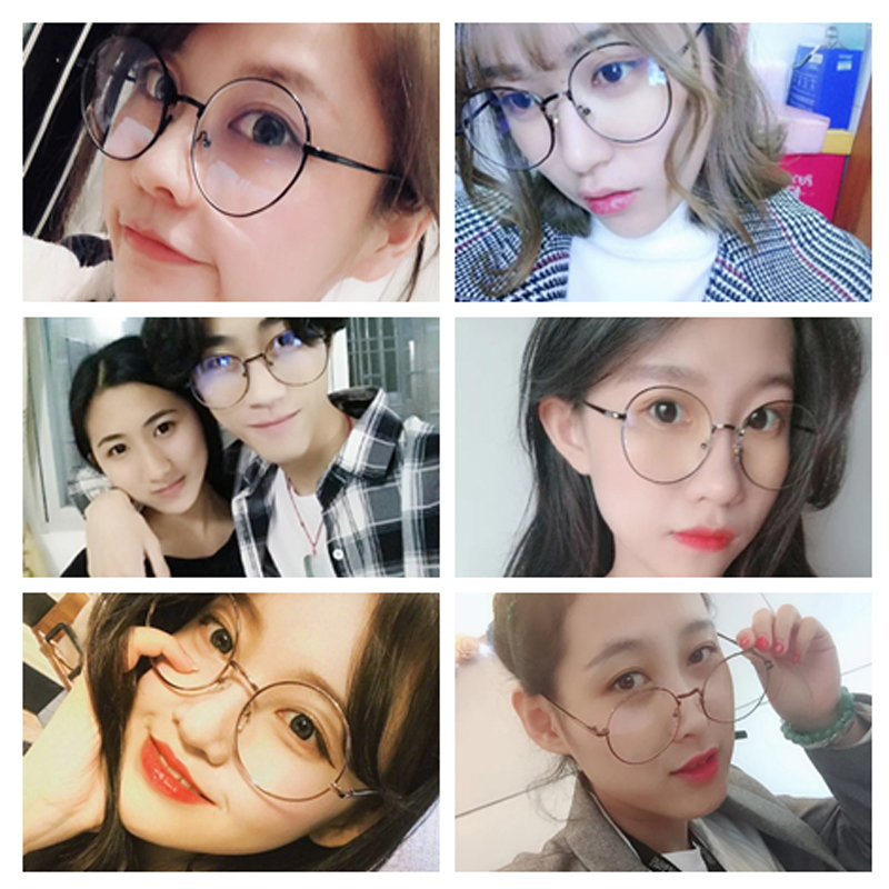 Anti-Blu-ray glasses trend personality literary/ / / large frame flat mirror without degree gold