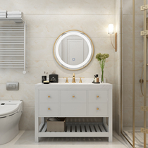 Nordic Bathroom cabinets combination custom smart mirror modern simplicity light luxury solid wood