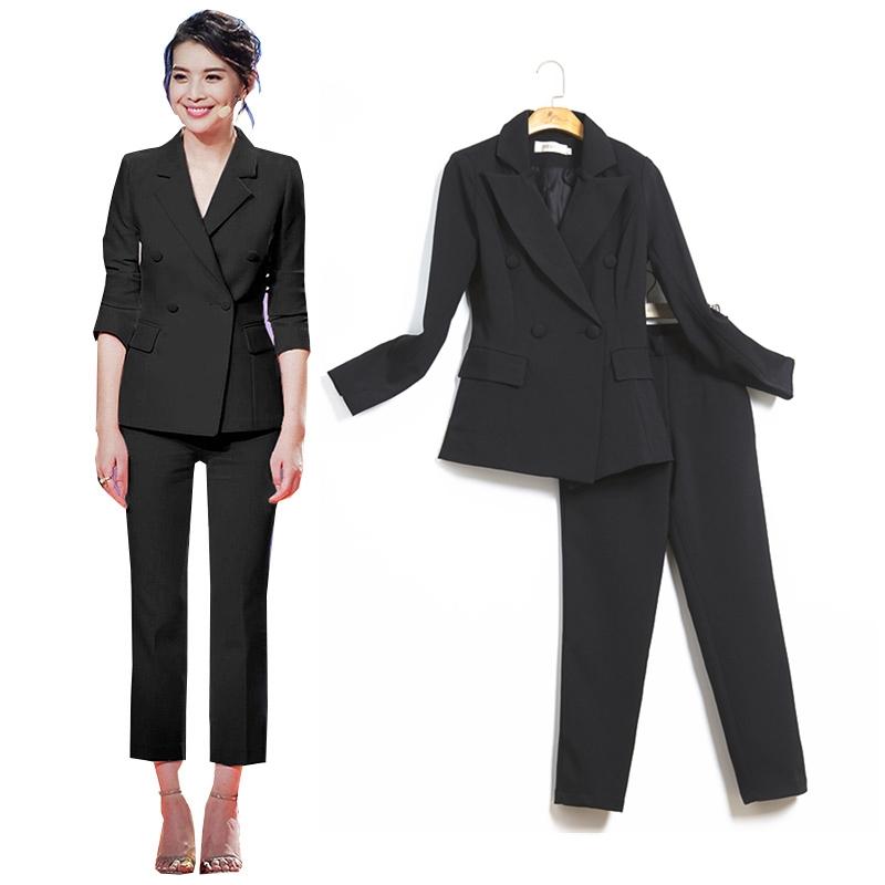 春秋款西服套装女时尚气质英伦风修身OL通勤韩国西装外套+九分裤