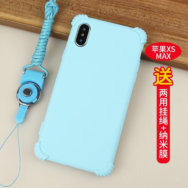 【苹果xsmax-6.5】二代气囊-静谧蓝+挂绳+纳米膜