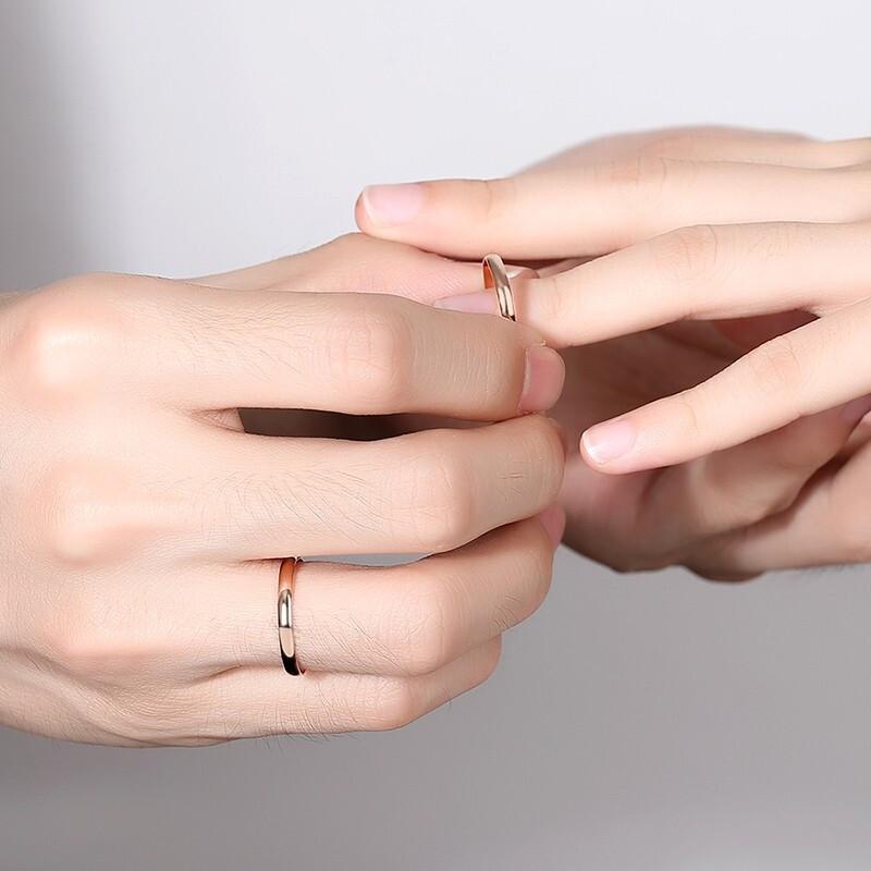 素圈戒指女18K玫瑰金简约小巧精致个性情侣款对戒送女友生日礼物