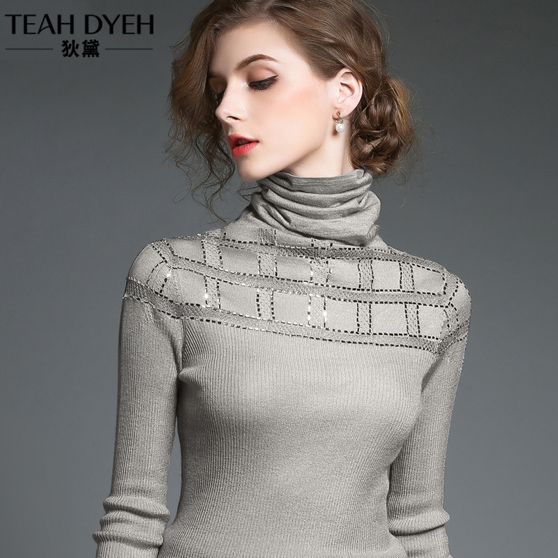 Diane autumn / winter new style cutout pullover turtleneck women's slim fit long sleeve knit bright Silk bottoms