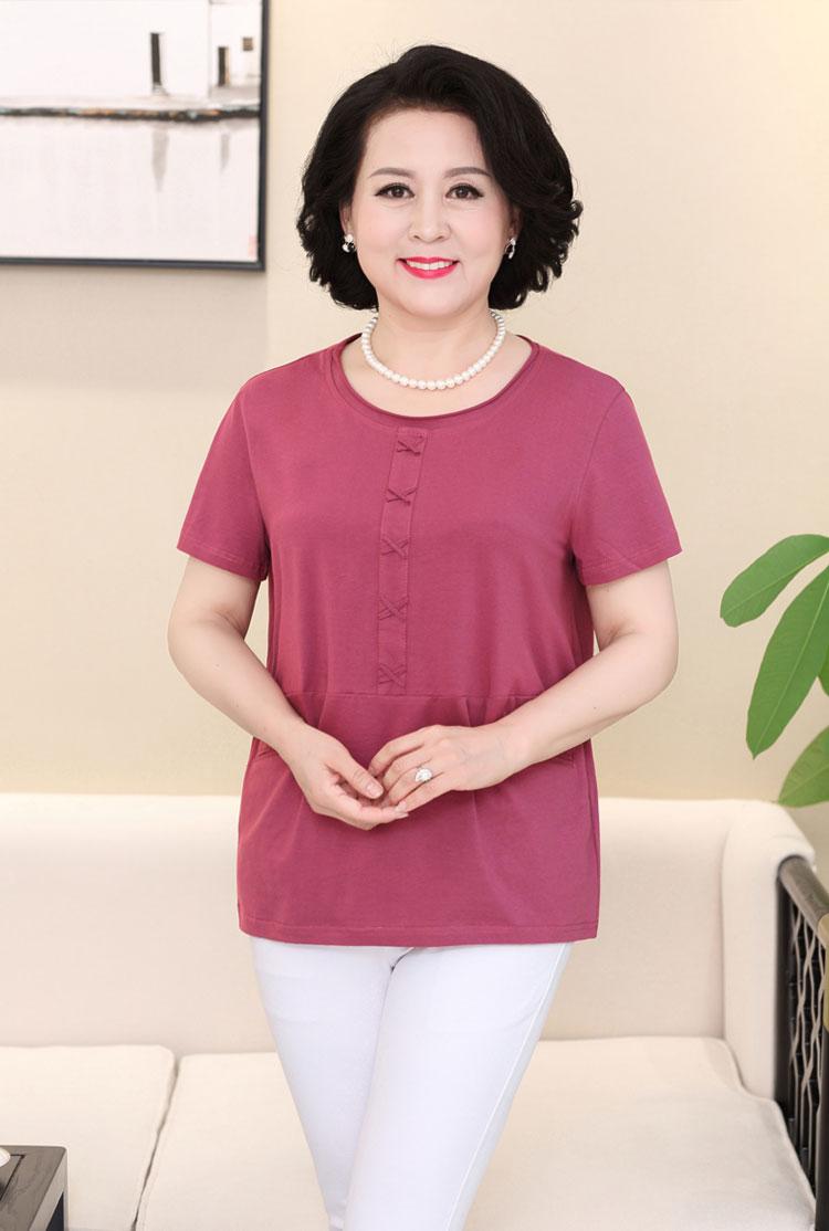 Mẹ nạp mùa hè ngắn tay t-shirt trung niên của phụ nữ bông đáy áo sơ mi lỏng lẻo cộng với phân bón XL top