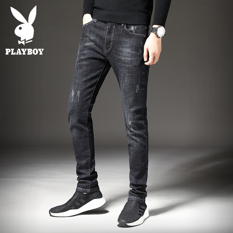 Playboy spring jeans men's tide brand autumn and winter model slimmed small feet Korean version of the trendmen's casual long pants