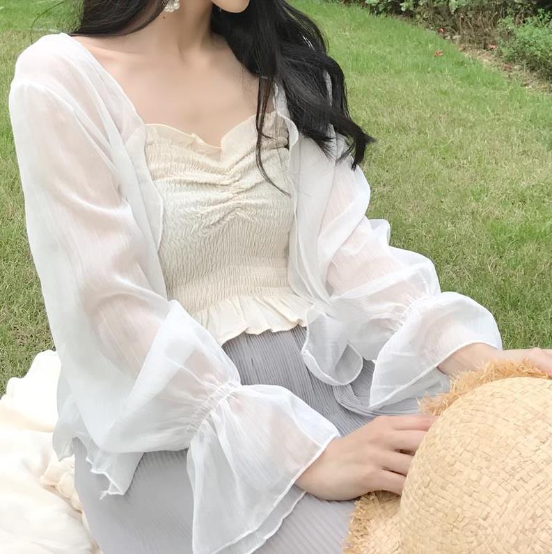 2019防晒衣女仙女系百搭开衫款网纱外搭衫夏季透明薄纱小外套