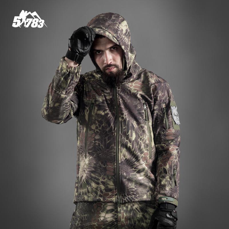 51783 军迷战术鲨鱼皮软壳冲锋衣男士加绒加厚迷彩防风衣防水外套